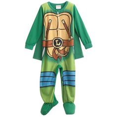 Teenage Mutant Ninja Turtles Footed Pajamas Toddler ($11) ❤ liked on Polyvore featuring baby