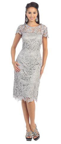 Short Vintage Lace Modern Mother of Bride Plus Size Formal Boho Cocktail Dress - The Dress Outlet - 1