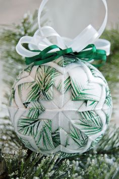 Handmade Ribbon Handmade Ornament Gallery – The Ornament Girl Quilted Christmas Ornaments, Handmade Christmas, Christmas Bulbs, Handmade Ornaments, Handmade Decorations, Pearl Decorations, Christmas Decorations, Quilted Fabric Ornaments, How To Make Ornaments