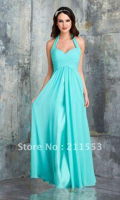 Gorgeous Designer Turquoise Halter Chiffon A-line Long Bridesmaid Dresses... aliexpress.com