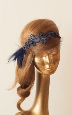 BIRDCAGE VEIL. Navy Blue Veil .Vintage Wedding by ancoraboutique