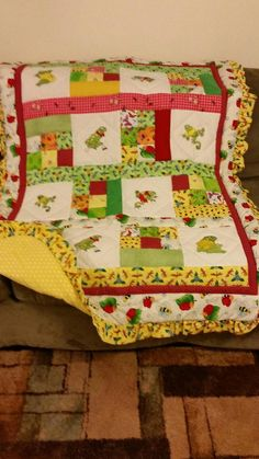 Fancy Frog Embroidery Crib Quilt by ohSEWcuddly on Etsy