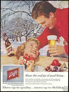 Schlitz Beer Christmas Theme Photo Vintage (1959)