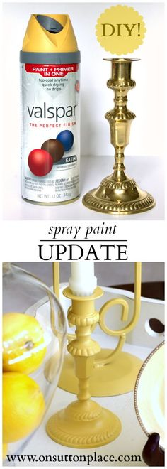Easy spray paint update for old brass candlesticks found at a thrift store. Quick and totally DIY! Easy spray paint update for old brass thrift store candlesticks found at a thrift store. Update with spray paint. Spray Paint Projects, Diy Spray Paint, Diy Projects To Try, Craft Projects, Do It Yourself Fashion, Do It Yourself Home, Do It Yourself Inspiration, Crafty Craft, Diy Home