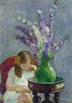 Girl with Flowers - Henri Lebasque (1865-1937)  Post-impressionism