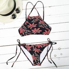 Cupshe Sheer By Nature Maple Leaves Bikini Set
