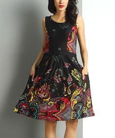Another great find on #zulily! Black Floral Paisley Sleeveless Fit & Flare Dress #zulilyfinds