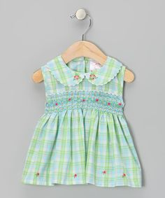 Take a look at this Blue & Green Plaid Rose Smocked Dress - Infant by the Mini Sissy on #zulily today!