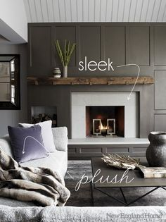 rustic-meets-modern fireplace
