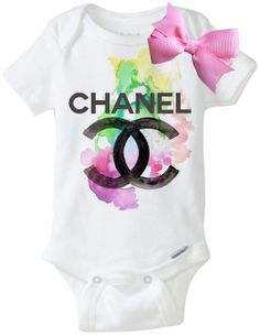 799313a3718ea Chanel Water Color Onesie W Bow by TheBabyLuxeBoutique