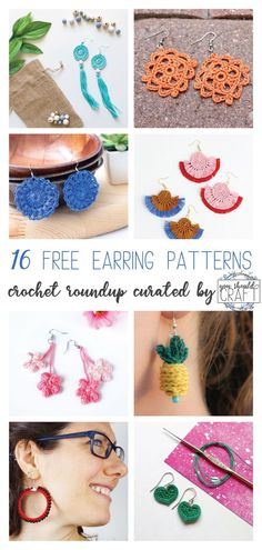 16 Free Crochet Earring Patterns - Roundup - - 16 of the best crochet earring patterns, rounded up into one post. All of these earrings are free crochet patterns with photo-tutorials. Crochet Thread Patterns, Crochet Jewelry Patterns, Crochet Earrings Pattern, Crochet Accessories, Crochet Necklace Tutorial, How To Crochet Jewelry, Crochet Jewellery, Macrame Patterns, Bracelet Patterns