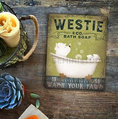 Westie Bath Soap Print Gallery Wrapped Canvas. Would be cute in a bathroom!
