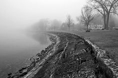 St. Albans Bay Park in Fog #blackand white #b #bw #fog #photography #moody #vermont #lakechamplain