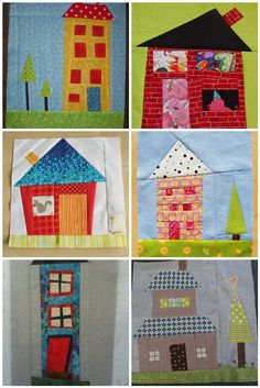 Cute little block houses House Quilt Patterns, House Quilt Block, Quilt Block Patterns, Quilt Blocks, Cute Quilts, Scrappy Quilts, Fiber Art Quilts, Place Mats Quilted, Small Sewing Projects