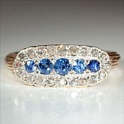 Antique Victorian 18k and Silver Sapphire and Diamond Ring Hallmarked London 1898