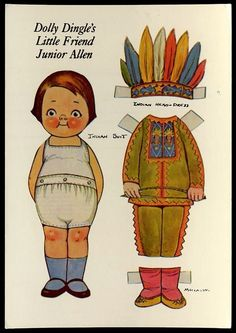 Dolly Dingle Friend Junior Allen Paper Doll Indian Costume Postcard Headdress 84   eBay