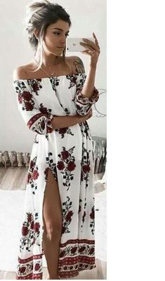 Details: Floral printOff the shoulderSlit at sideMaterial:CottonRegular wash We can ship items to any country! We accept Visa ,MasterCard and Paypal . SIZE(CM) US BUST SLEEVE LENGTH S 2 100 34 122 M 4/6 104 35 123 L 8/10 108 36 124 XL 12 112 37 125 2XL 14 116 38 126