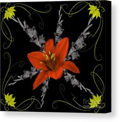 Lily And Gladiolas Abstract Canvas Print by Scott Hervieux.  All canvas prints are professionally printed, assembled, and shipped within 3 - 4 business days and delivered ready-to-hang on your wall. Choose from multiple print sizes, border colors, and canvas materials.