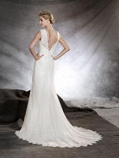 ODILIA - Wedding dress with floral motifs, flared