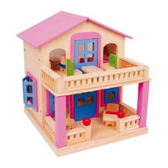 """Poppenhuis """"Clara""""Een behaaglijk en fraai thuis voor onze buigpopjes is dit prachtige huis met gelakte ramen en deuren en zijn 17-dlg. meubilair!Het gelakte dak kan dankzij magneethouders gemakkelijk in 2 delen worden afgenomen en geeft kinderhanden zo ruimte om te spelen.Ook balkon en terras zijn voorzien van houten pennen en magneten en verhogen zo de speelwaarde.Afmeting ca. 33 x 35 x 39 cmLeeftijd v/a 3 jaar"""