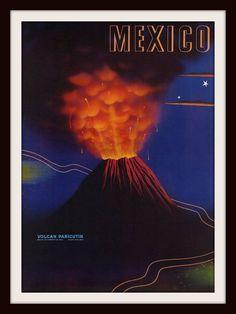 Mixed Media - Mexico Volcan Paricutin 1943 - Retro Travel Poster - Vintage Poster by Studio Grafiikka , Vintage Advertising Posters, Vintage Travel Posters, Vintage Advertisements, Vintage Ads, Jorge Gonzalez, Tourism Poster, Classic Movie Posters, Boston Public Library, Vintage Travel