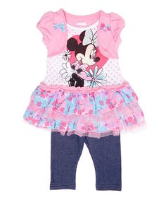 Look what I found on #zulily! Pink Minnie Mouse Ruffle Tee & Leggings - Infant #zulilyfinds
