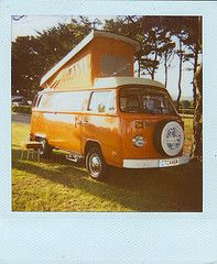 Dave The Camper Van (Cathy G) Tags: uk camping orange film dave vw polaroid 1974 cornwall scan retro 2009 campervan westfalia marazion campinguk whealrodneycampsite