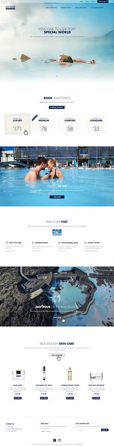 Blue Lagoon Iceland - Front page, gallery and compare by Kosmos & Kaos, via Behance Layout Design, Web Layout, Design Web, Flat Design, Hotel Website Design, Website Designs, Spa Website, Event Website, Website Web