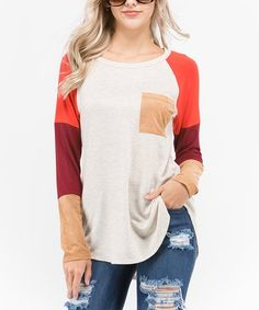 Burgundy & White Colorblock Tunic #zulily #zulilyfinds