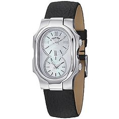 Philip Stein Women's Signature Swiss Quartz Dual Time Mother-of-Pearl Leather Strap Watch