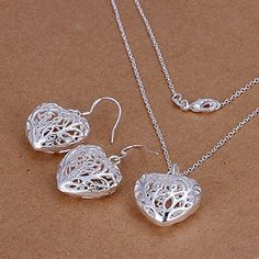 Hot Sale Wedding Fashion 925 Silver Plated Jewelry Set Earings Eardrop Necklace ThreeDiamensional Heart ** Read more  at the image link.