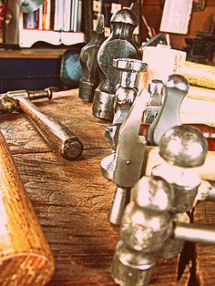 hammers on the bench in the studio, via Flickr.