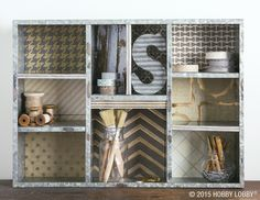 Want an easy solution for a fixer-upper shelf? Back it with a collection of trendy coordinating papers.
