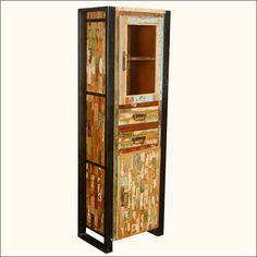 maximize it with the Mondrian Solid Reclaimed Wood Tall Industrial Narrow Display Cabinet. This industrial styl. Modern Rustic Furniture, Reclaimed Wood Furniture, Solid Wood Furniture, Industrial Furniture, Industrial Style, Industrial Storage Cabinets, Narrow Cabinet, Wardrobe Furniture, Cabinets For Sale