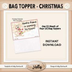 Bag Topper - Santa Paws - Christmas - Instant Download Printable - Beginner Project - HEBER_614 by HollysHandmadeGifts on Etsy