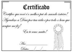 Certificado você o melhor pai do mundo