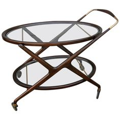 Cesare Lacca Bar Cart MidCentury Modern, Glass, Metal, Wood, Table by Adesso Eclectic Imports