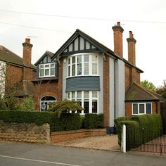 From large rooms to stained glass, there are plenty of reasons to love living in your home. We've fallen for the bay windows and mock-tudor frontages too Style At Home, 1930s Semi Detached House, Tudor House Exterior, Bay Window Exterior, House Extension Plans, Side Extension, Extension Ideas, Art Nouveau, House Siding