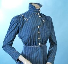 1910 Indigo Printed Calico Early Ready to Wear Day Dress Cute Piping Buttons   eBay