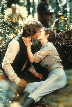 Harrison Ford and Carrie Fisher in Return of the Jedi