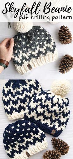 Check out this fun two-colour fair isle knitting pattern fo. Check out this fun two-colour fair isle knitting pattern for the Skyfall Beani Fair Isle Knitting Patterns, Knitting Blogs, Knitting For Beginners, Loom Knitting, Free Knitting, Start Knitting, Beginner Knitting Projects, Fair Isle Pattern, Knitting Ideas