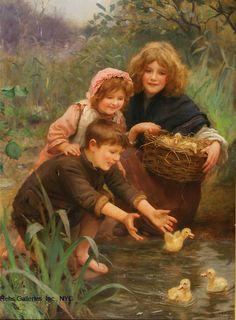 Oil Painting by Arthur John Elsley (1860-1952) 'Learning To Swim'