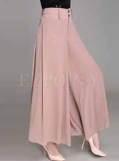 Stylish Loose Solid Color High-Waist Wide Leg Pants - Lilly is Love Fashion Pants, Fashion Dresses, High Waisted Dress Pants, Skirt Pants, Kurti Designs Party Wear, Dress Indian Style, Looks Chic, Wide Leg Pants, Loose Pants