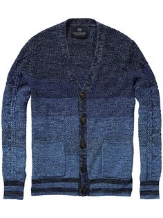 Scotch & Soda - Amsterdam Couture - Clothing, Fashion and Mens Knitted Cardigan, Sweater Jacket, Men Sweater, Knitwear Fashion, Denim Fashion, Mens Clothing Trends, Cool Shirts For Men, Estilo Denim, Vintage Denim