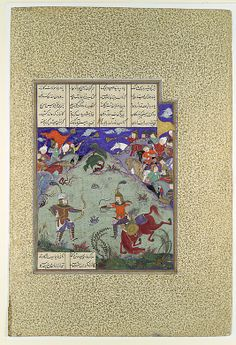 """The Combat of Rustam and Ashkabus"", Folio from the Shahnama (Book of Kings) of Shah Tahmasp Artist: Painting attributed to Mirza Muhammad Qabahat Date: ca. 1525–30 Geography: Iran, Tabriz Medium: Opaque watercolor, ink, silver, and gold on paper Dimensions: Painting: H. 9 3/8 x W. 7 5/8 in. (H. 23.8 x W. 19.4 cm) Entire Page: H. 18 5/8 x W. 12 5/8 in. (H. 47.3 x W. 32.1 cm) Metropolitan Museum of Art 1970.301.40"