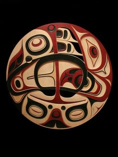 "Decontructed Eagle And Frog  Don Yeomans Haida Yellow Cedar 47"" x 47"" x 1"" $16,000.00 CAD"
