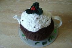 Hand knitted Xmas pudding teapot cozy tea cosy by jacksknits