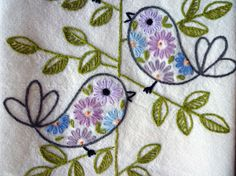 Retro Birds Hand-Embroidered Towel/Tea-Towel/Dishtowel