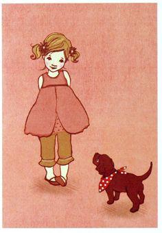 イギリスBelle&Booリサイクルペーパーグリーティングカード−エバと犬【メール便対象品】