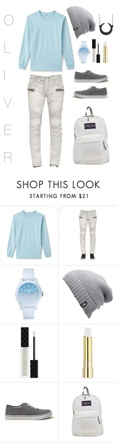 """""""Untitled #58"""" by teabag0 ❤ liked on Polyvore featuring Lands' End, Balmain, Lacoste, The North Face, Gucci, Stila, Hollister Co., JanSport, BackToSchool and Fall"""